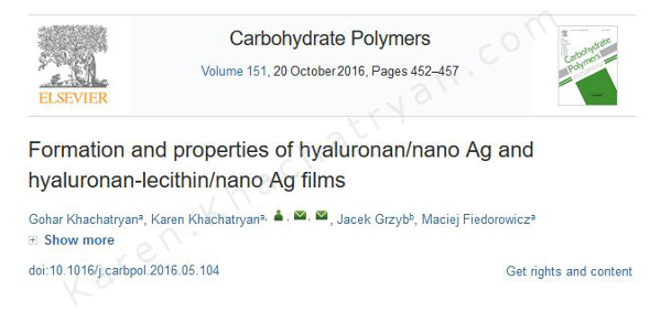 Khachatryan - Formation and properties of hyaluronan/nano Ag..
