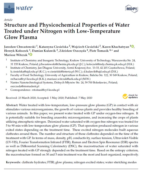 Structure and Physicochemical Properties of Water - K. Khachatryan