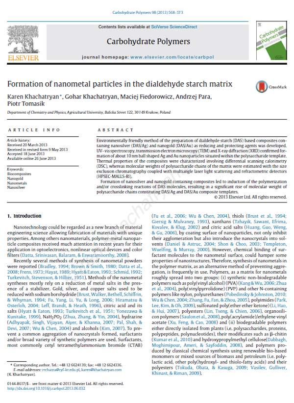Khachatryan - Formation of nanometal particles in the dialdehyde starch matrix