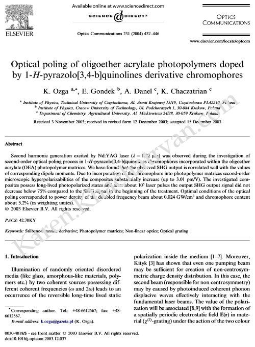 Optics Communications. Volume 231, Issues 1–6, 15 February 2004, Pages 437–446