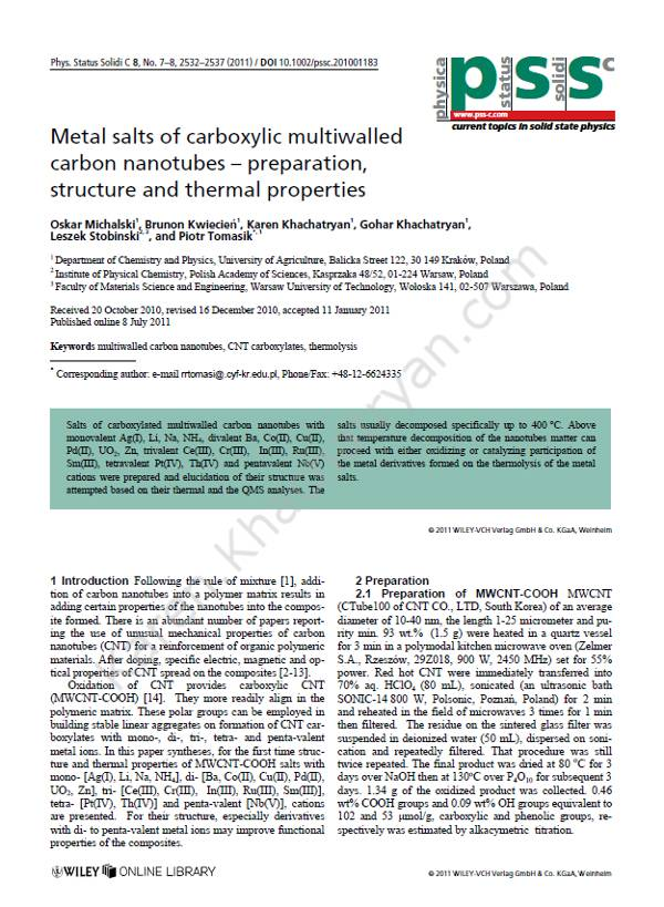 Khachatryan - Metal salts of carboxylic multiwalled carbon nanotubes